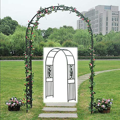SYLJ Arco para Rosas, Soporte para trepadoras, Metal Arco jardín cenador Planta Rosa Escalada Arco decoración Fiesta de Boda, Grande Negro De Metal Jardín Arco