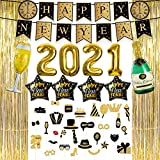 New Years Eve Party Supplies 2021, Foil Balloon Decorations Set, Photo Booth Props, Tinsel Foil Fringe Curtains, Banner for Party Photo Backdrop