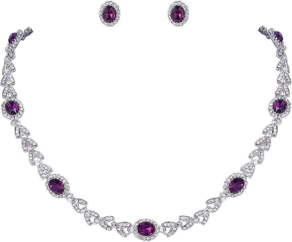 EVER FAITH Austrian Crystal Luxury Floral Leaf Necklace Stud Earrings Set