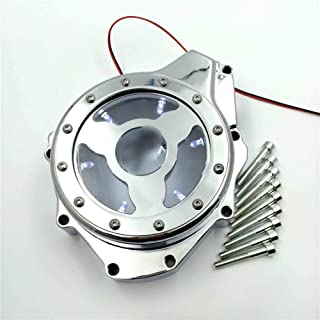 NBX- Glass See Through Engine Stator Cover For Compatible with Suzuki GSXR1300 Hayabusa 1999-2013 Chrome w/White led
