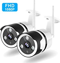 Outdoor Security Camera - 1080P Outdoor Camera Wireless, IP66 Waterproof, FHD Night Vision, Motion Detection, Two-Way Audio, Wired or WiFi, Cloud Storage or TF Card Support (2 Pack)