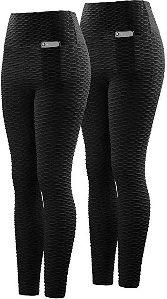 F_Gotal Womens Yoga Pants High Waist Tummy Control Wrinkles Stretchy Workout Leggings Athletic Gym Jogger Sweatpants