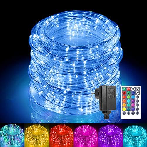 Mangueras LED de exterior 150 LED, ECOWHO Extensible 15m/54ft Cadena de Luces Exterior de RGB Color, 24v Luz de Cadena Elenchufe y Reproduce, Tubos de Luces Navidad para Balcón Boda Fiesta Árbol