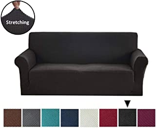 Argstar Jacquard Sofa Slipcover, Black Stretch Couch Slip Cover, Spandex Furniture Protector for 3 Cushion Seater, Sofa Cover for Living Room, Machine Washable