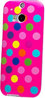 iCues | Compatible with HTC One M8 | Polka Dot Case Pink/Multi-Coloured | [Screen Protector Included] Durable Fashion Shell Cute Glossy Cover TPU Pattern Women Girl