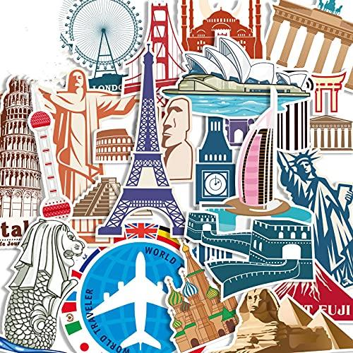 CHENX Personalidad Ciudades Europeas y Americanas Trolley Maleta Pegatinas Arquitectura Retro Computadora Equipaje Escritorio Teléfono móvil Patineta Guitarra Pegatinas 25 Hojas