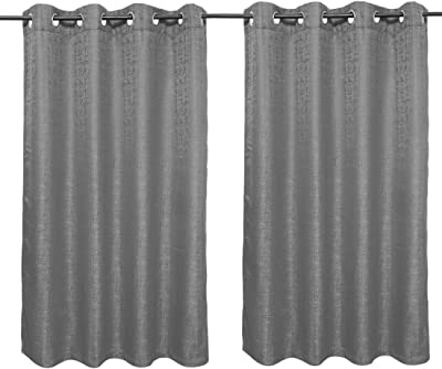 Set of 2 Window Curtains Nora Solid Charcoal by HomeTown