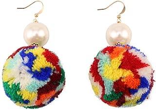 Big Cotton Pom Pom Ball Pendant Imitation Pearl Dangle Earrings for Women Ethnic Drop Statement