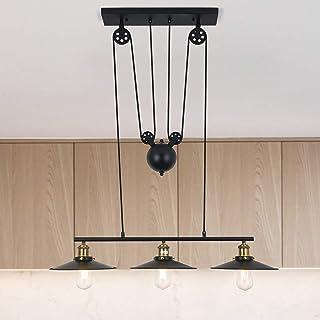 Lampe suspendue à trois lumières, Luminaire Suspendu à Poulies d'Intérieur îlot de cuisine réglable industriel rustique lu...