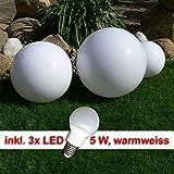 Dapo LED-Garten-Kugel-Leuchte-Lampe Marlon 20+30+40' Außen-Wege-Teichrand-Blumenbeet-Deko-Boden-Balkon-Terrassen-Treppen-Mauer-Rasen-Pool-Leuchte-Lampe