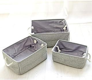 KKGASSAB Durable 3 Tailles différentes Tissu Pliable Boîte de Rangement en Toile Panier de Stockage avec poignées pour éta...