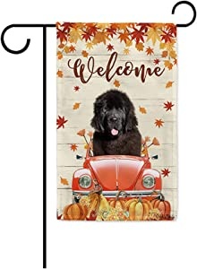 BAGEYOU Welcome Fall Dog Garden Flag Newfoundland Drives The Beetle Vintage Car Harvest Pumpkin Patch Sunflowers Maple Leaf Decor Home Banner for Outside 12.5x18 Inch Print Both Sides