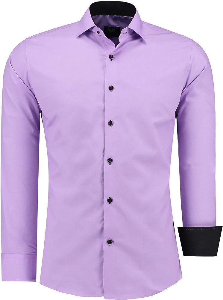 Jeel camicia da uomo - slim fit, a maniche lunghe , 70% cotone, 30% poliestere 12105E