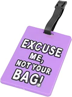 uxcell Purple Soft Plastic Excuse Me, Not Your Bag Print Name Address Label Luggage Tag