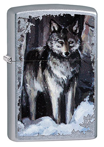Zippo Wolf IN Forest Feuerzeug, Messing, Chrom, 5.5 x 3.5 x 1 cm