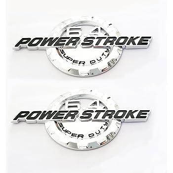4pcs OEM 6.4L Powerstroke Emblem Side 6.4 L POWER STROKE Turbo Badge 3D Logo Replacement for F250 F350 F450 Chrome Black