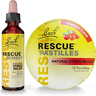 Rescue Holiday Gift Pack, Rescue Remedy Dropper 20mL Plus Bonus Rescue Cranberry Pastilles 1.7oz