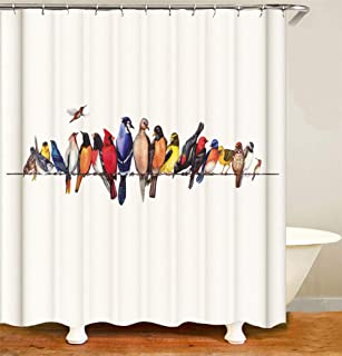 ZYJ A Group of Birds Fell On The Wires. Shower Curtain. 70.86 Inches X 70.86 Inches. 3D HD Printing. Easy to Clean.