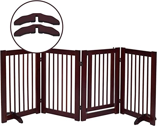discount Giantex 30inch Freestanding Wood Dog Gate with popular Walk Through Door and 2PCS Support outlet sale Feet, Foldable Pet Gate for House Doorway Stairs, 3 Panels Expand Up to 80inch Wide, Pet Safety Fence (30 inch) outlet online sale