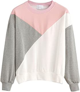 Women Splice Sweatshirt Round Neck Casual Pullover Hoodless Blouse Tops by Keepfit
