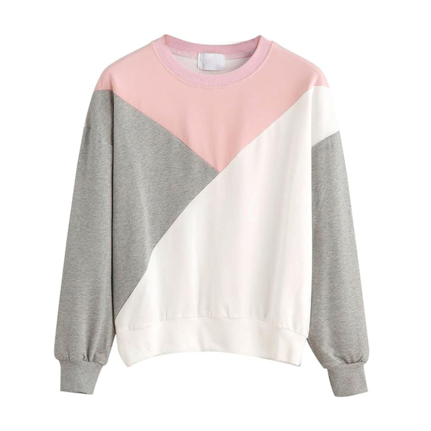 Keepfit Women Splice Sweatshirt Round Neck Casual Pullover Hoodless Blouse Tops