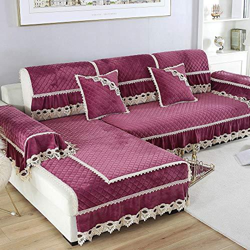 Suuki Sofa Cover slipcovers,Fundas de cojín de sofá de Felpa con Falda de 20 cm,Funda de sofá de Madera de Felpa Gruesa de otoño Invierno,Toalla Decorativa para sofá-púrpura_Los 70 * 120cm + 20cm