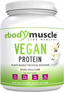 ebodymuscle Vegan Protein Powder 16 oz. Plant Based with No Animal Products. 30g Protei in Every Scoop. Build Muscle, Lose...