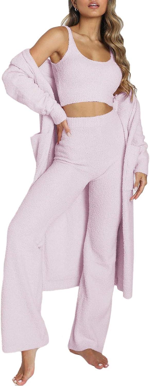 Linsery Women's Fuzzy 3 Piece Sweatsuit Open Front Cardigan Crop Tank Tops Wide Legs Pants Lounge Sets