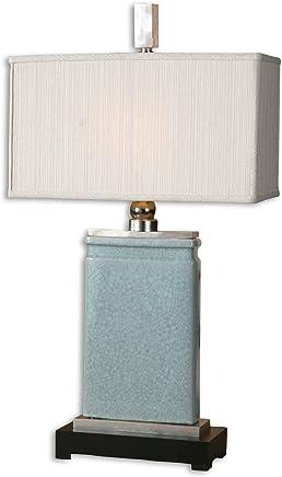 Uttermost Azureライトブルーテーブルランプ、ライトブルーCrackled磁器withニッケルメッキアクセント