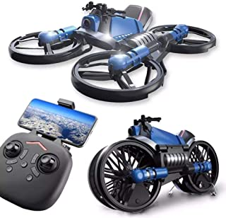 Children's Enlightenment Remote Control Drone Simulation Model Toy with HD Camear 2.4g Deformation Motorcycle Folding Four...