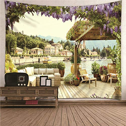 Aimsie Tapiz decorativo de pared con diseño de paisaje para sofá y pabellón, poliéster, 260 x 240 cm, multicolor