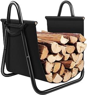Amagabeli Fireplace Log Holder with Canvas Tote Carrier Indoor Fire Wood Rack Black..