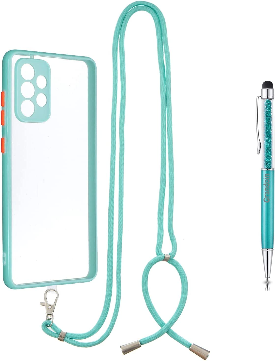 Grandoin Crossbody Case for Samsung Galaxy A72 5G, Lanyard Case Necklace Mobile Phone Cover with Adjustable Cord Strap, Clear Transparent TPU Cover Holder with Neck Cord Lanyard Strap (Green)