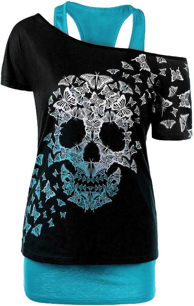 ZSBAYU Halloween Women's Plus Size Short Sleeve Tops Fashion Butterfly Skull Print Off-Shoulder T-Shirt Tank Blouses