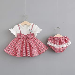 TZOU Girl Children Kids Short Sleeve Plaid Dress with Lovely Small Underwear Two Piece Suit Outfit red 70cm