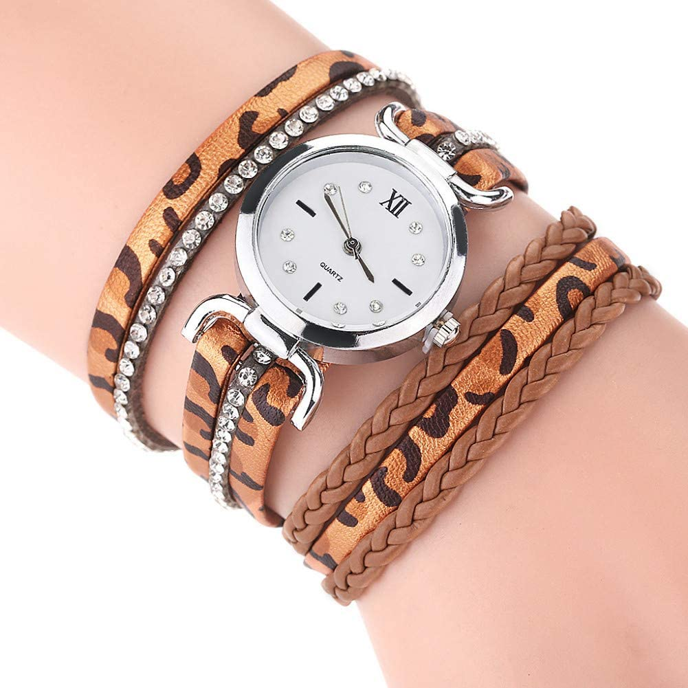 YLBHD Relojes de Mujer Vintage Fashion Leopard Print Multi Band Hebilla Pulsera Reloj de Pulsera de Cuarzo analógico para Mujer