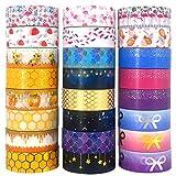 FT Tapes Family Washi Tape Set of 24 Rolls,Foil Gold & CMYK Kawaii Starry Sky,Honey Bee,Flamingo,Mermaid Masking Tape for Scrapbook,Bullet Journal,Planner,Arts & Crafts (24)