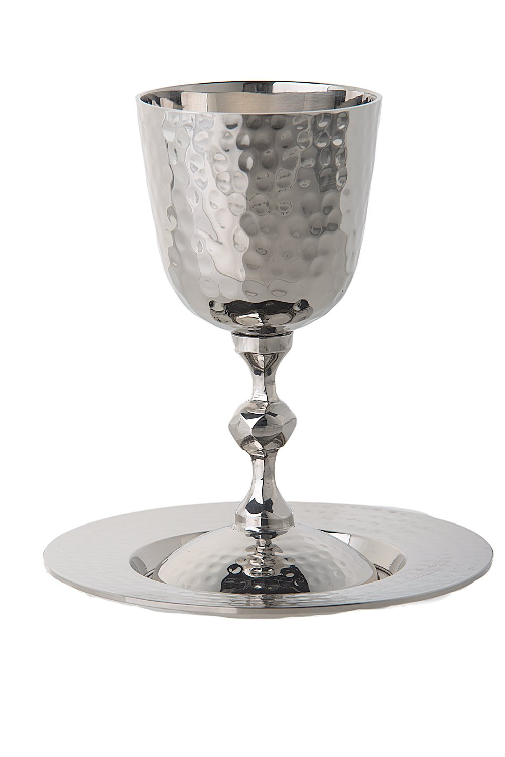 Amazon Com Magnificent Hammered Stainless Steel Kiddush Cup On Base With Matching Tray Kitchen Dining
