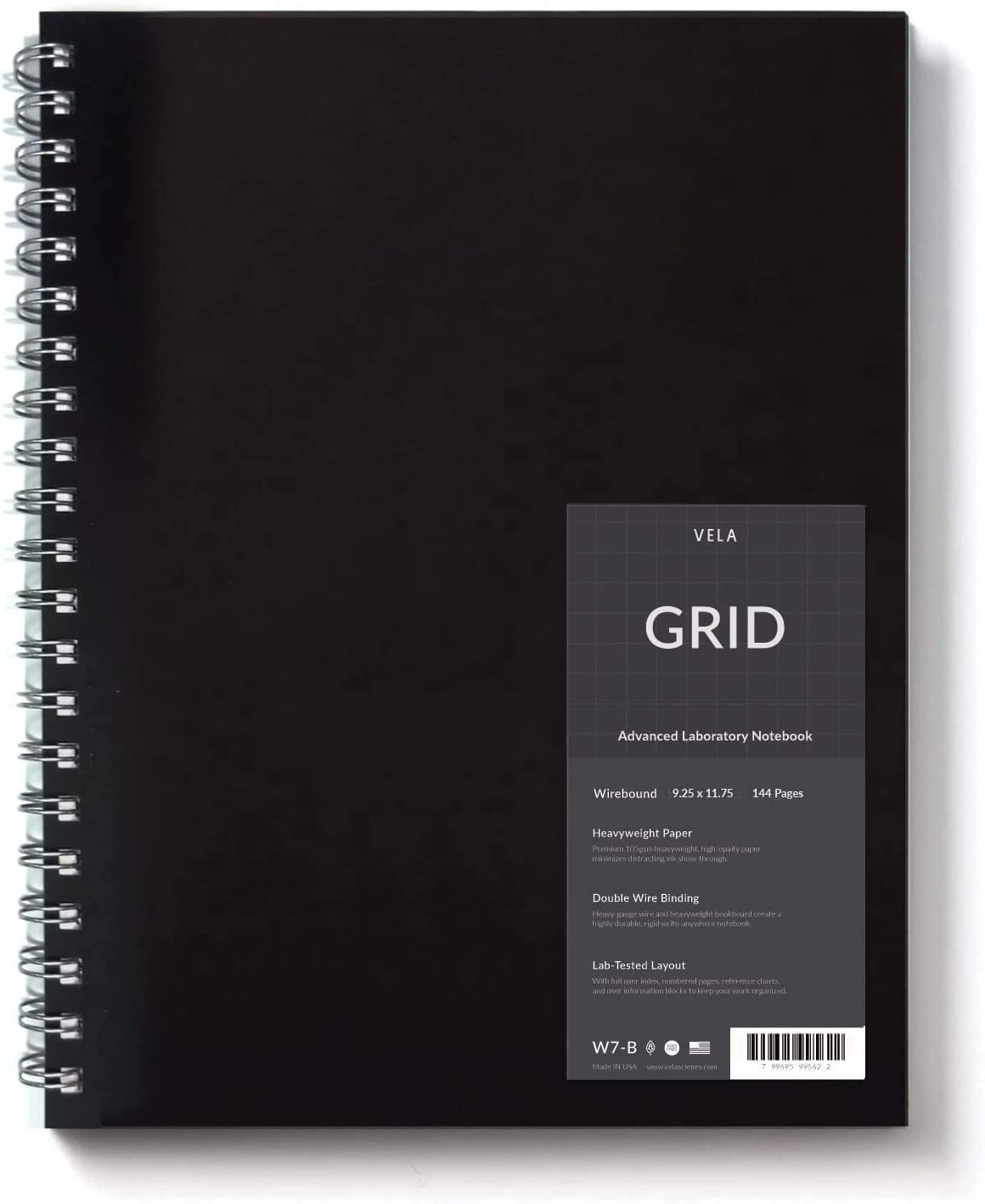 Vela Sciences W7-B Expanded Wirebound Lab Notebook, 9.25 x 11.75 in, 144 Pages, Black Cover(5mm Grid, 1-Pack) : Office Products