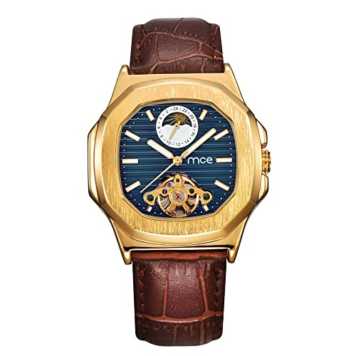 Skeleton Mens Automatic Mechanical Mens Wrist Watch - ManChDa Brown Genuine Leather Moon Sun Phase Blue