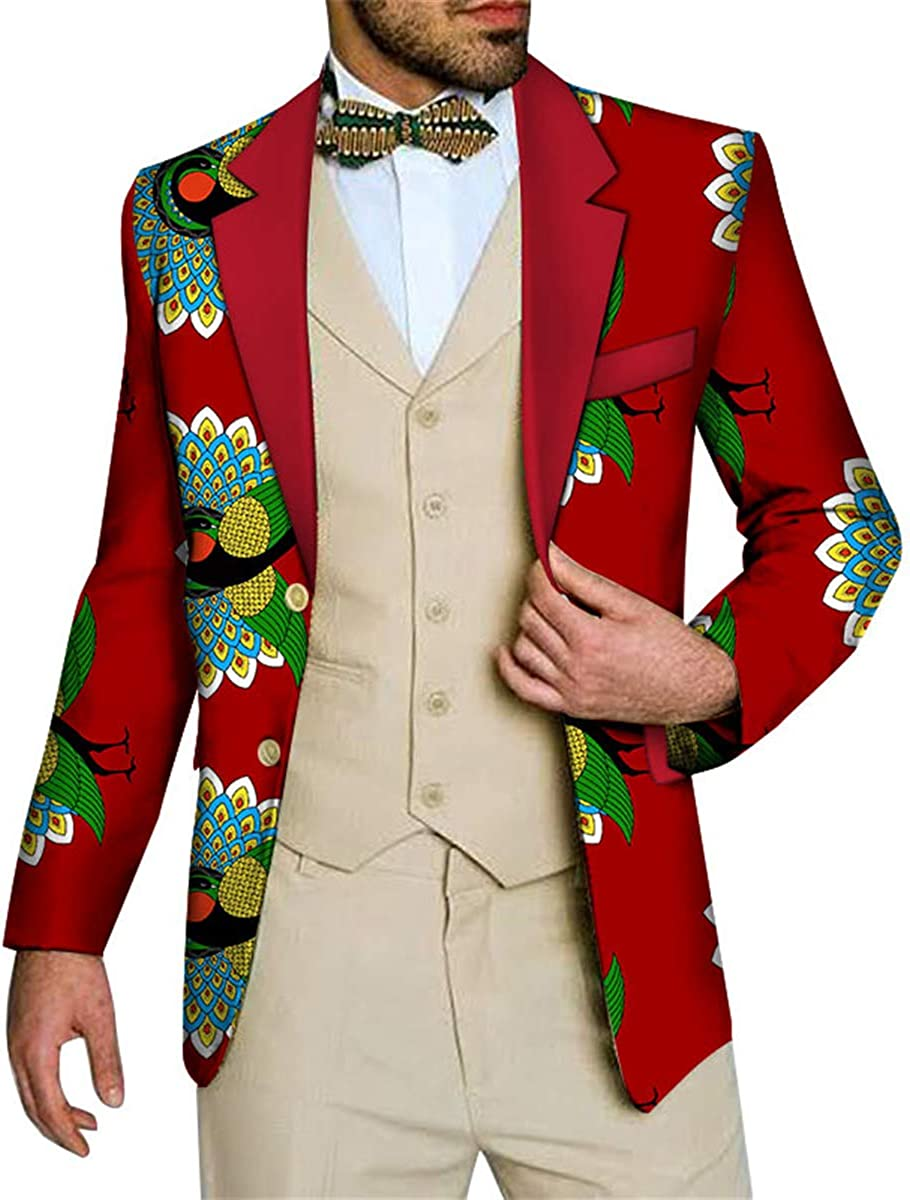 ELISCO Men's Long Sleeve Suit African Features Fabric Traditional Festivel Jacket
