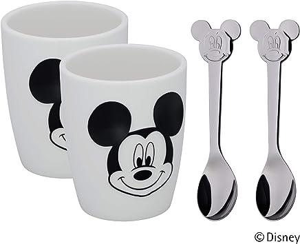 Preisvergleich für WMF Disney Mickey Mouse Tassen Set S, 2 kleine Tassen mit Löffel, Porzellan, Cromargan Edelstahl poliert, spülmaschinengeeignet