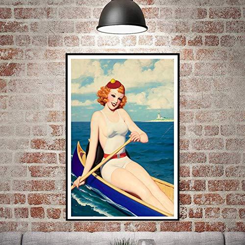 Nordic Kunst Poster leinwanddruck wandbild Dekoration Vintage malerei Frauen Bild Wohnzimmer Dekoration rahmenlose malerei 70X90 cm