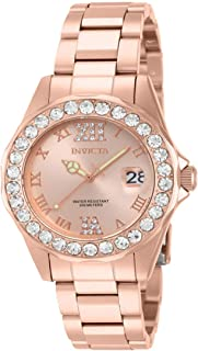 Invicta Women's Analogue Classic Quartz Watch with Stainless Steel Rose Gold Plated Strap 15253