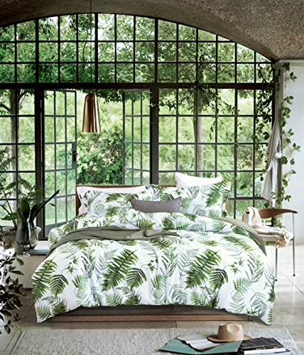 MILDLY Bedding Duvet Cover Sets Queen Size, 100% Egyptian Cotton Duvet Cover with Zipper Closure and 2 Pillow Shams, Botanical Leaves Pattern Printed, Bert
