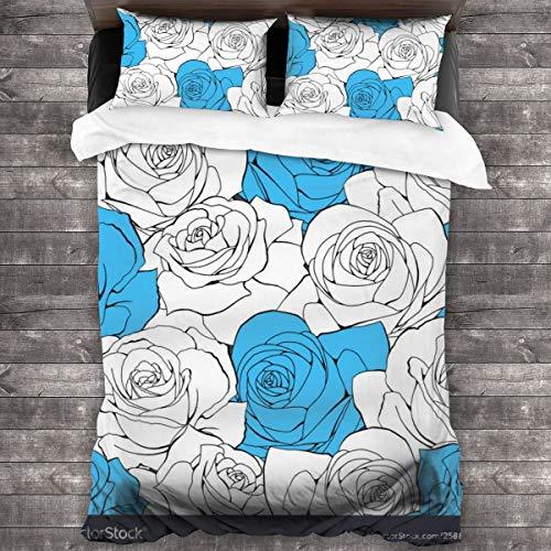 Qing_II Juego de cama de 3 piezas, diseño vintage, sin costuras, color blanco pastel, funda de edredón de microfibra suave, 1 funda de edredón de 86 x 70 pulgadas y 2 fundas de almohada de 20 x 30 pulgadas