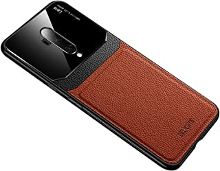 Case for OnePlus 7T Pro, PC & Leather & Plexiglass Protective Cover Shockproof Anti-drop Case for OnePlus 7T Pro (Brown)