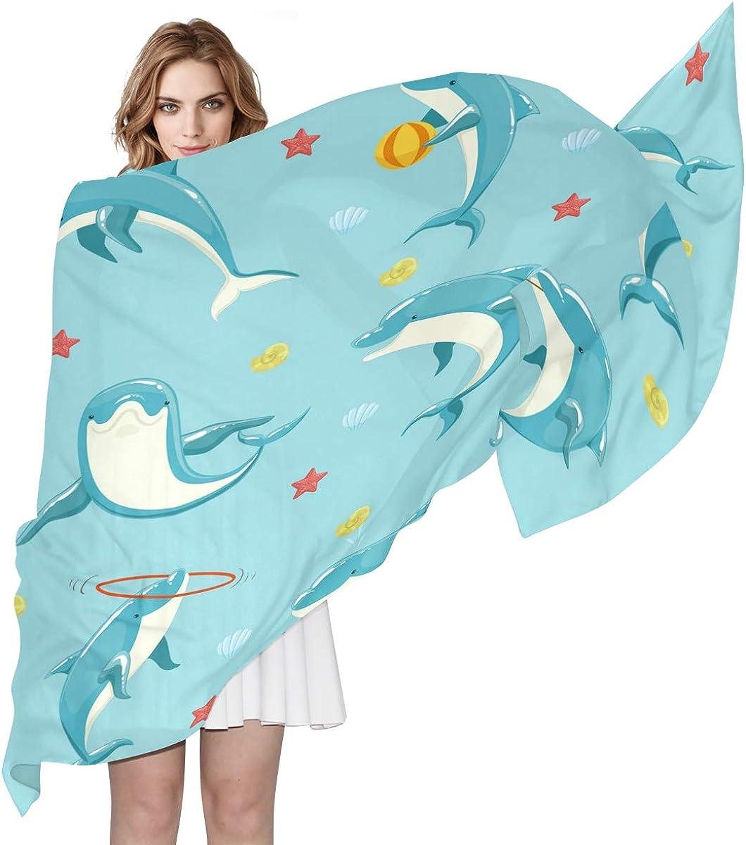 XLING Fashion Scarf Cute Starfish Animal Dolphin Long Lightweight Sunscreen Scarf Shawl Wrap Muffler Neckerchief for Women Men