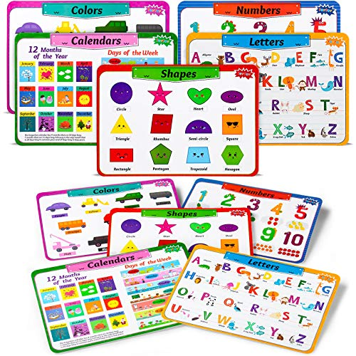 teytoy Kids Placemats Set of 5, Laminated Toddler Educational Learning Table Place Mats, Alphabet Math Shapes Colors Calendar, Children Eat Mat No Slip Waterproof Heat Resistant 17x12inch