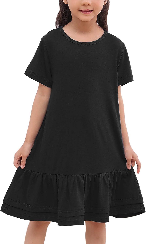 GORLYA Toddler Girls Casual A Line Ruffle Hem Cotton Dress for 1-7T Little Kids